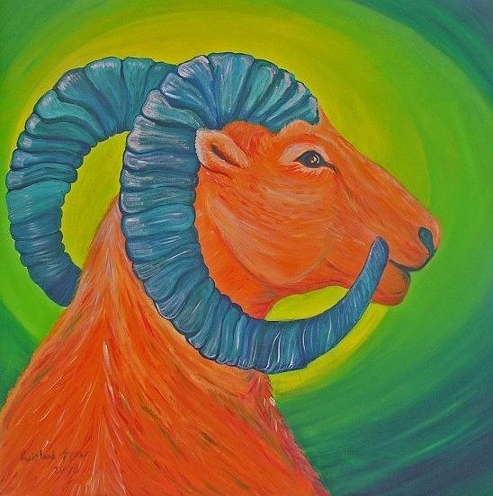 Dall Sheep Painting - Not A Dull Sheep by Amy Reisland-Speer