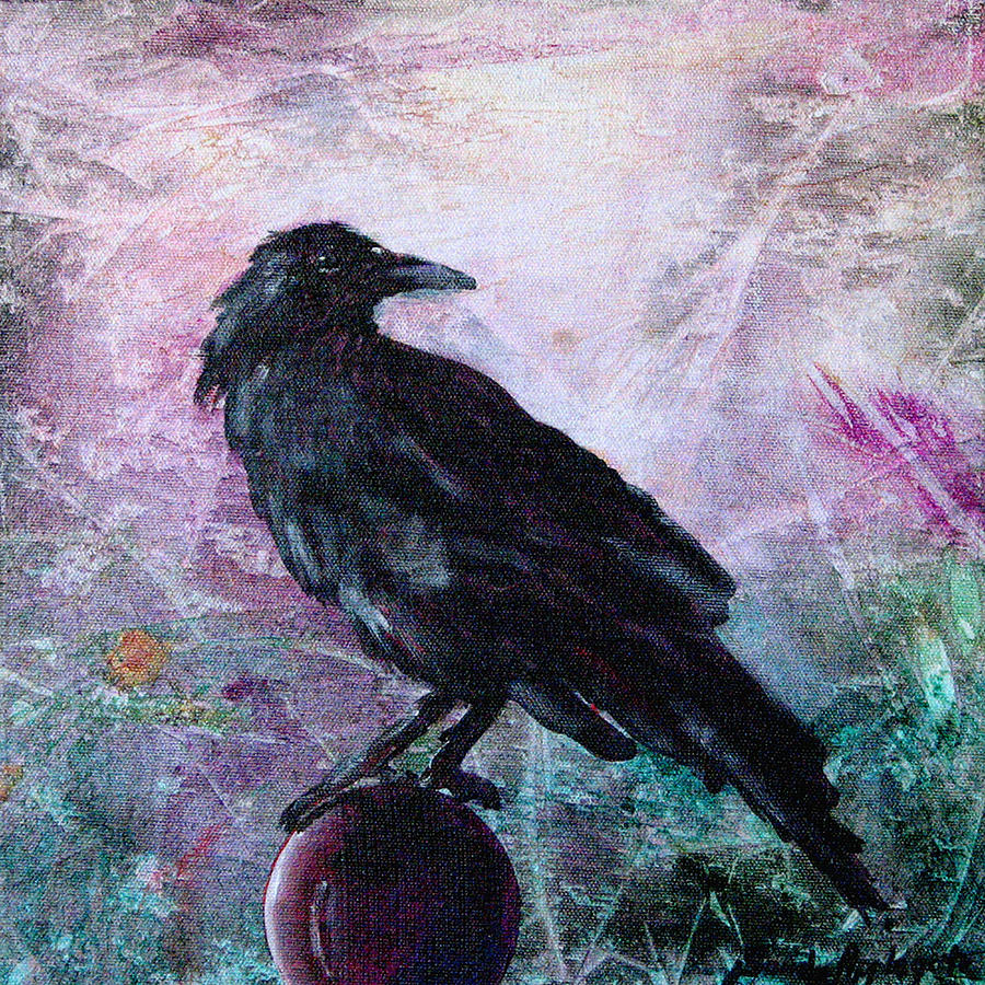 Raven Painting - Not A Feather Then He Fluttered by Sandy Applegate