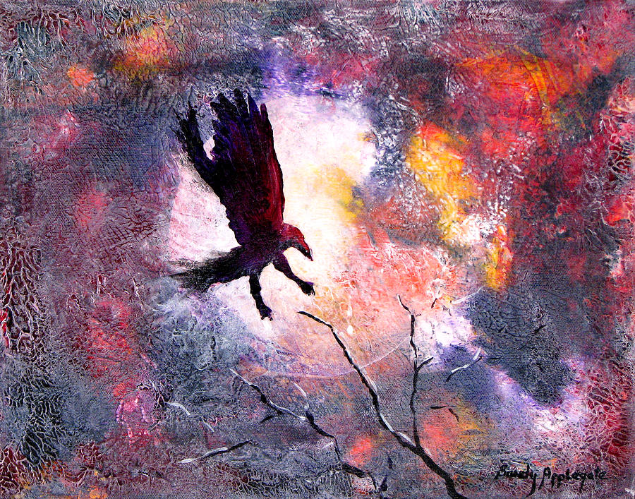 Raven Painting - Not A Minute Stopped Or Stayed He by Sandy Applegate