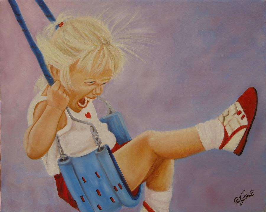 Child Painting - Not A Worry Not A Care by Joni McPherson