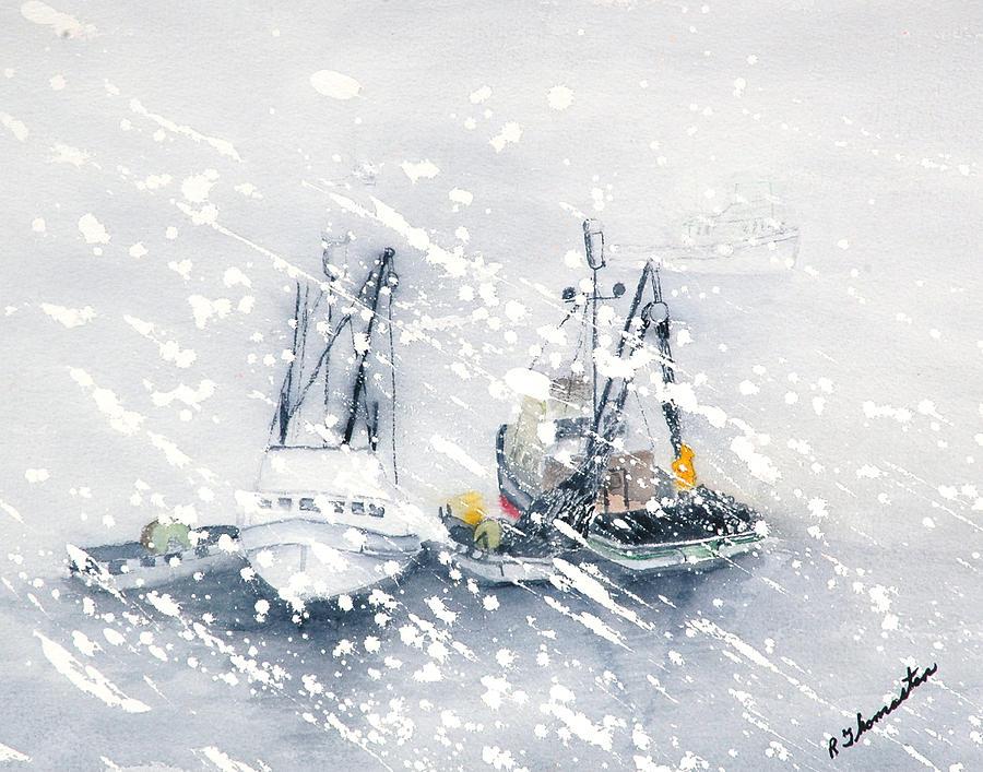 Coastal Painting - Not All Fishing Is Fun by Robert Thomaston
