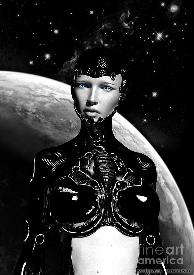 Cyborg Digital Art - Not All Things Are Black And White by Michael Ruffino