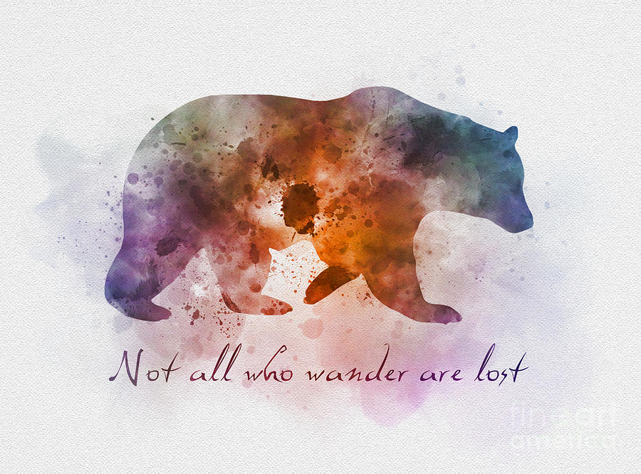 Bear Mixed Media   Not All Who Wander Are Lost By Rebecca Jenkins
