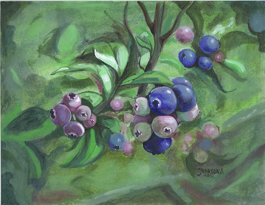 Blueberries Painting - Not Quite Ready To Pick 2010 by Cheryl Johnson