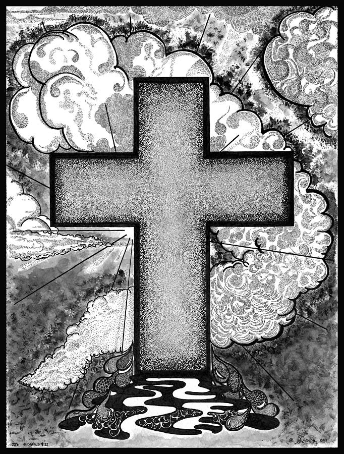Christian Drawing - Nothing But The Blood by Glenn McCarthy Art and Photography