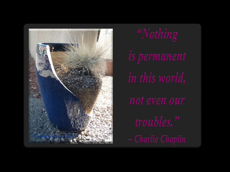 Charlie Chaplin Photograph - Nothing is permanent in this world by Tamara Kulish