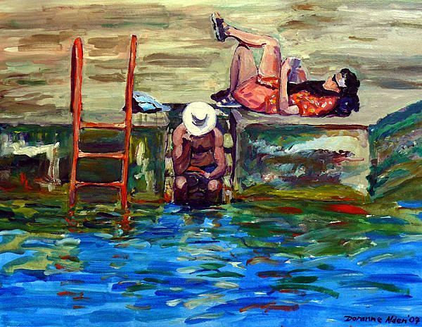 Figurative Painting - Nothing Like A Good Read by Doranne Alden