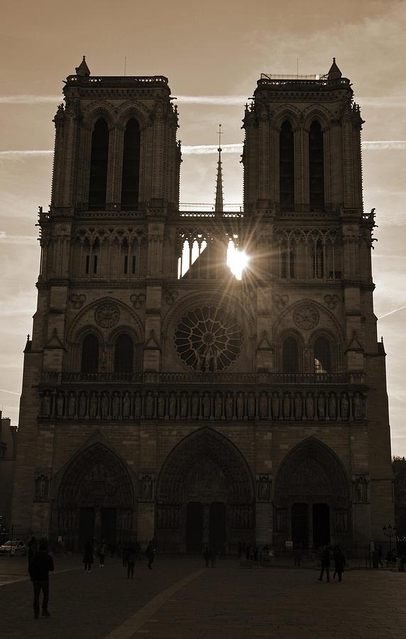 Notre Dame Cathedral Backlit By Sunrise Paris France Sepia