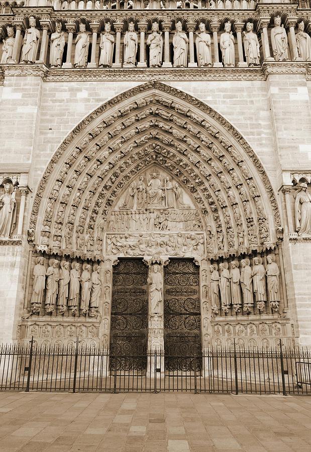 Notre Dame Cathedral Entrance Doors Arch Friezes And Statues Paris France Sepia