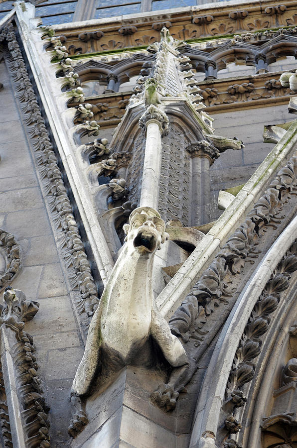 Notre Dame Cathedral Gothic Architecture And Gargoyle Paris France