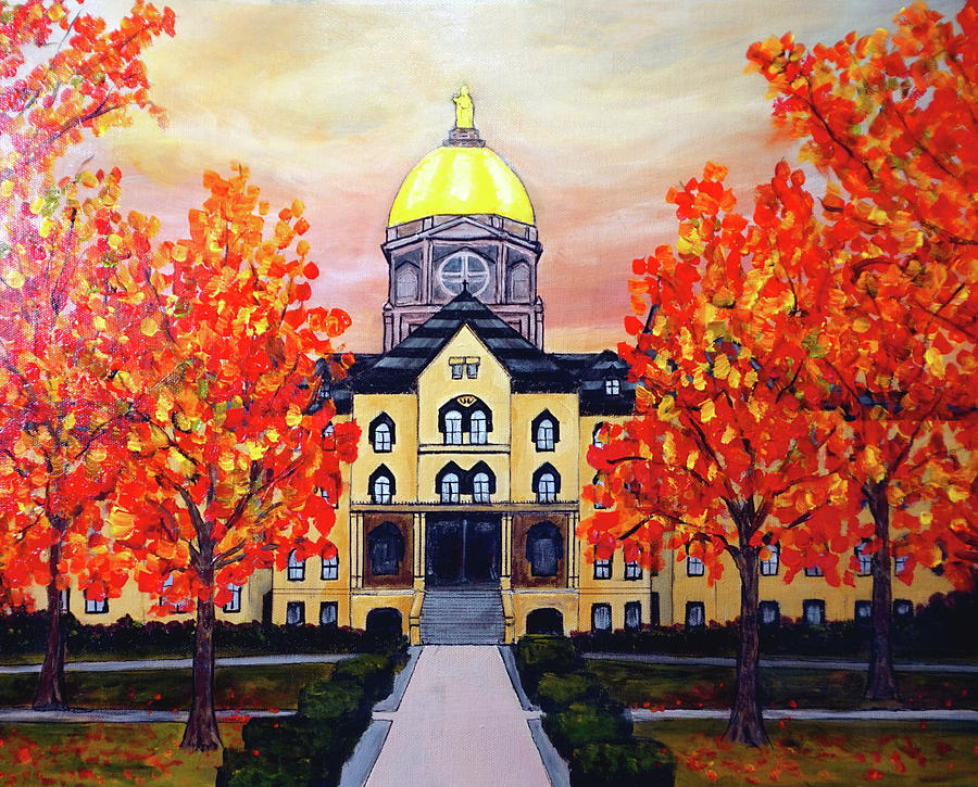 Notre Dame Main Building Golden Dome by Katy Hawk