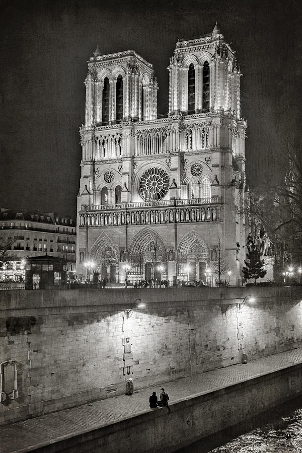 Notre Dame Night Bw Photograph