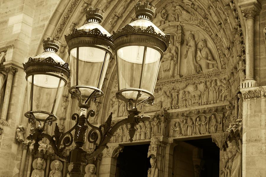 Notre Dame Street Lights Paris France Sepia