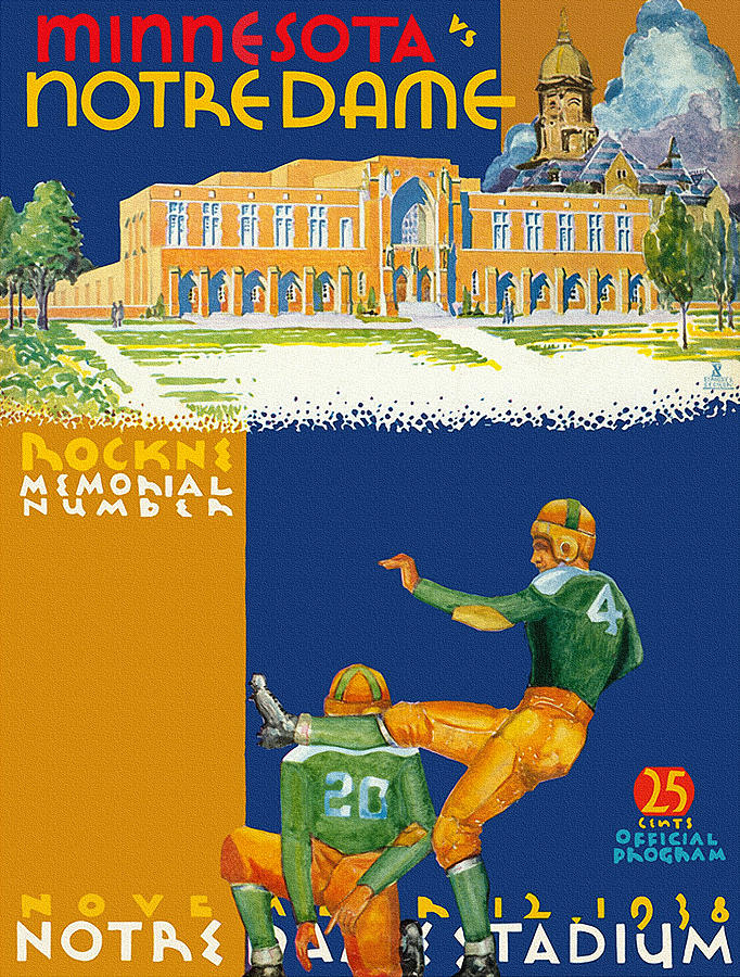 Minnesota Painting - Notre Dame Versus Minnesota 1938 Program by John Farr