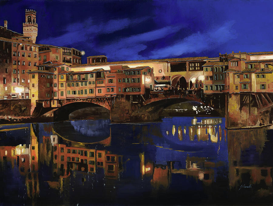 Firenze Painting - Notturno Fiorentino by Guido Borelli