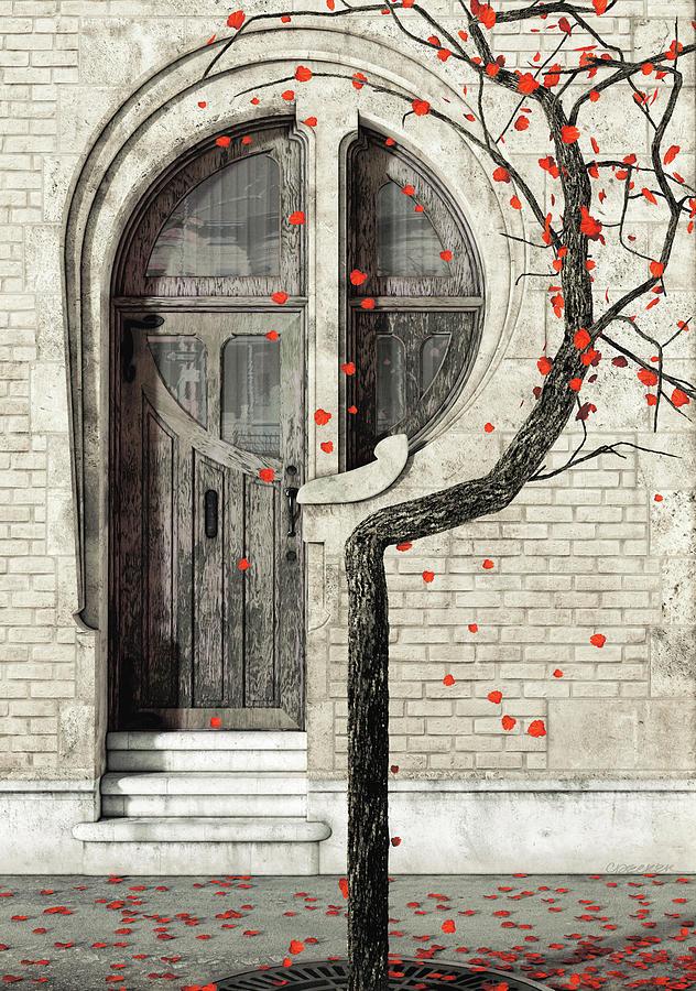 Red Digital Art - Nouveau by Cynthia Decker