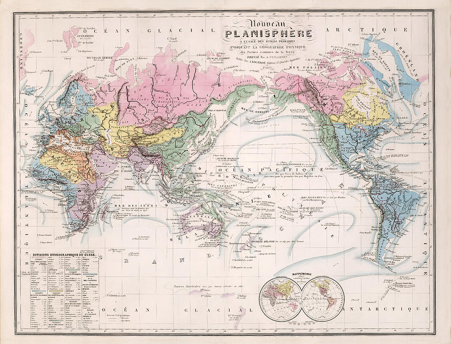 Nouveau planisphere map of the world geographical and physical map of the world drawing nouveau planisphere map of the world geographical and gumiabroncs Image collections