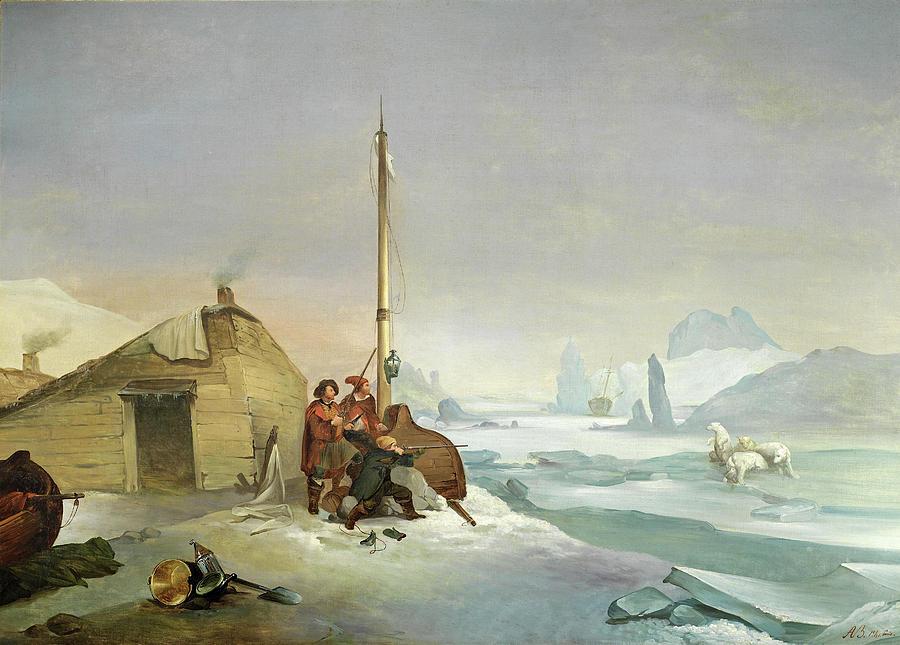 Famous Paintings Painting - Nova Zembla Coast by Francois-Auguste Biard