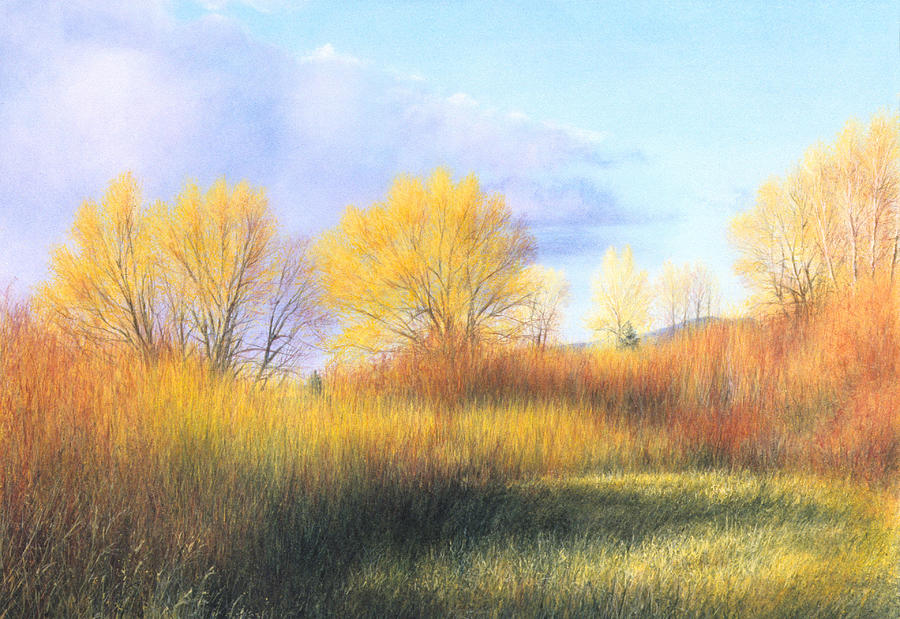 Landscape Painting - November Blaze by Janet Landrum