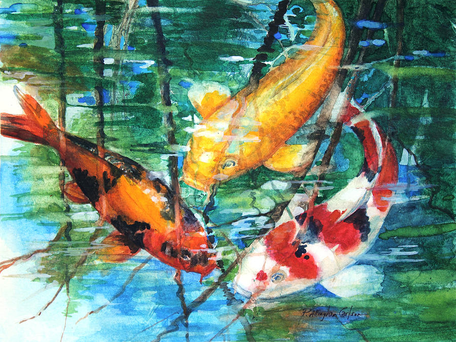 November koi painting by patricia allingham carlson for Koi artwork on canvas