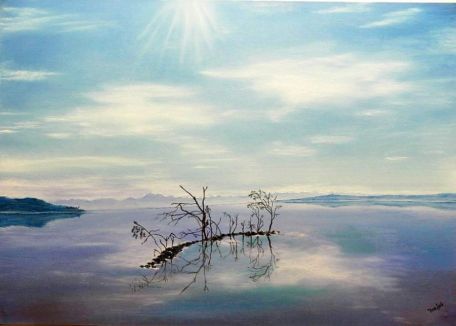Germany Painting - November On A Bavarian Lake by Helmut Rottler