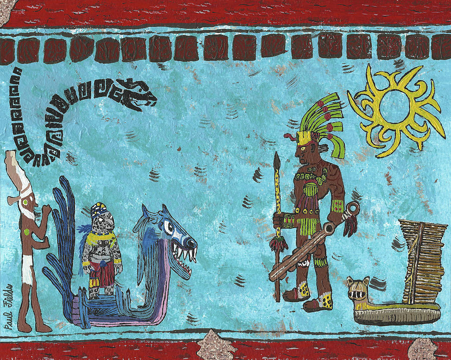 November prophecy mural painting by paul fields for Aztec mural painting