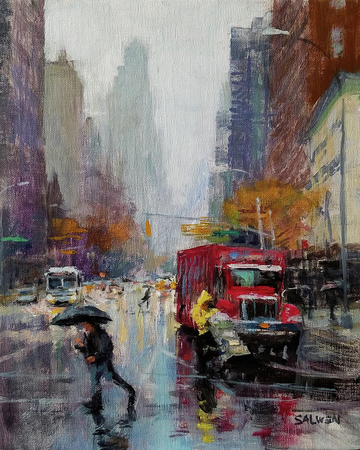 Rainy Street Painting - November Rain by Peter Salwen