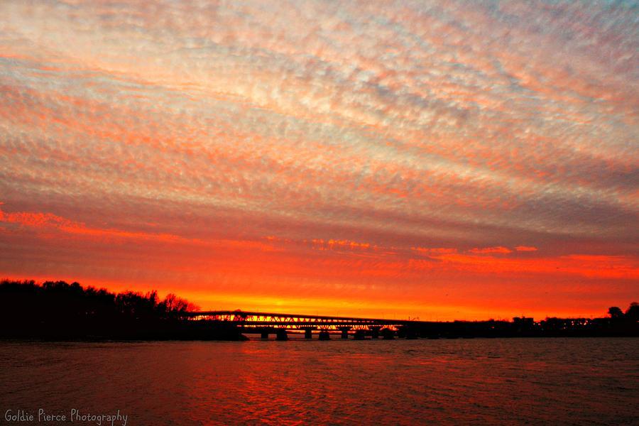 November Photograph - November Sunset Over Mississippi River by Goldie Pierce