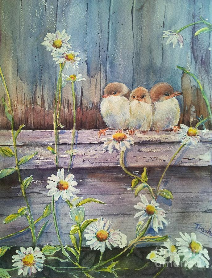 Baby Birds Painting - Now Where? by Patricia Pushaw