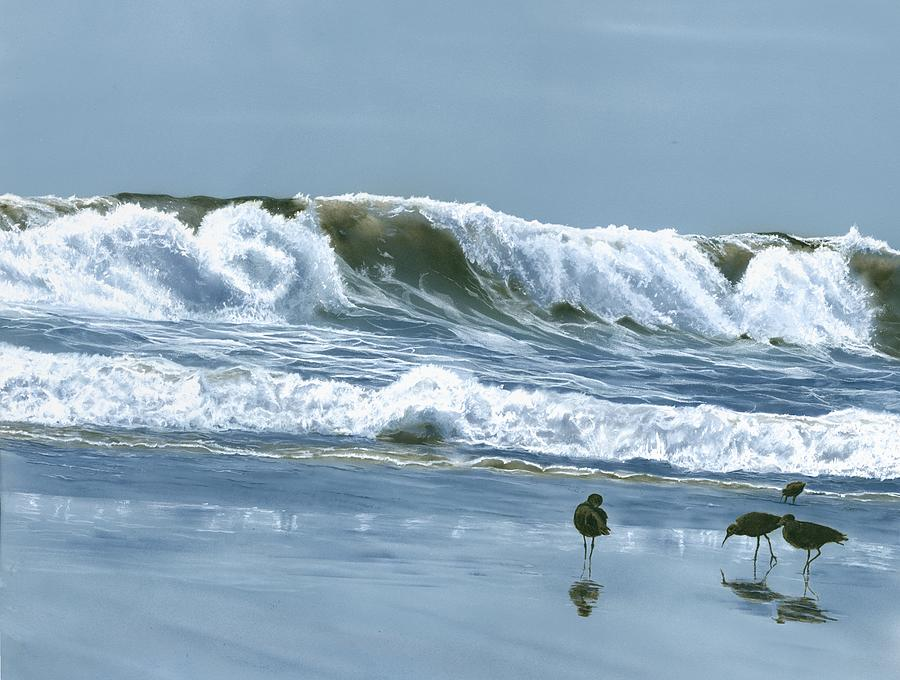 Sandpipers Painting - NPB Sand Pipers by Charles Parks