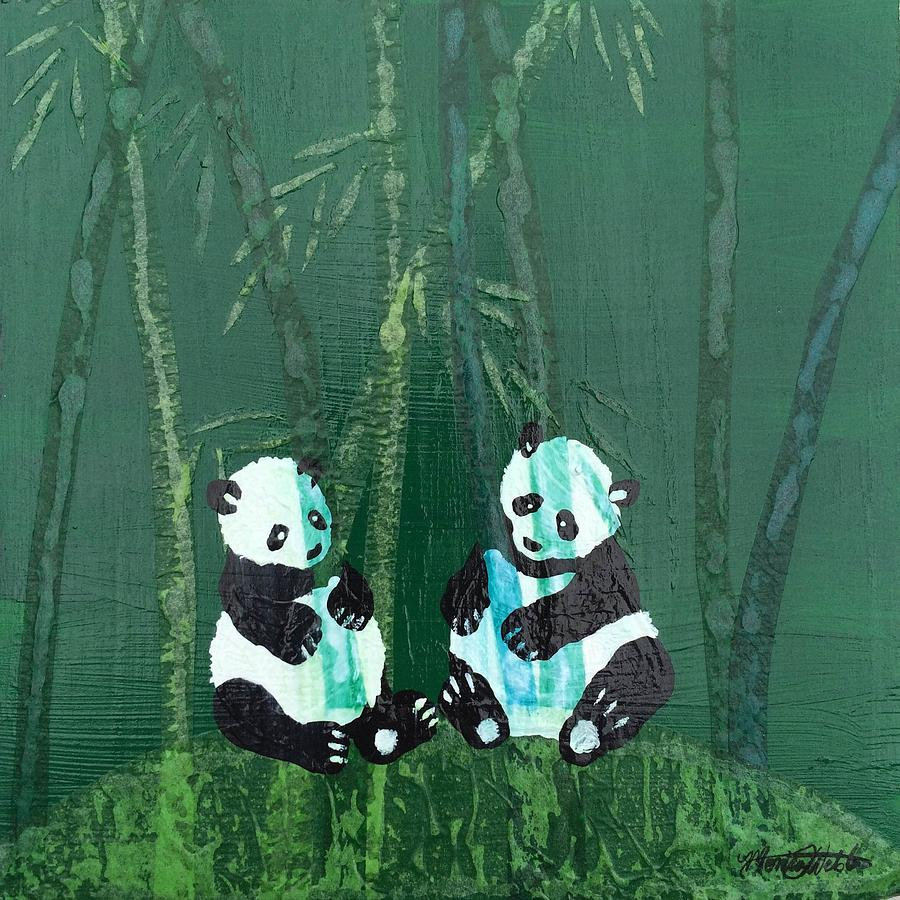 Panda Mixed Media - Nuances Of Black, White And Green by Monica Webster