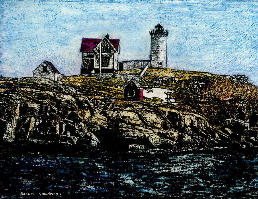 Lighthouse Painting - Nubble Light - York Maine by Robert Goudreau