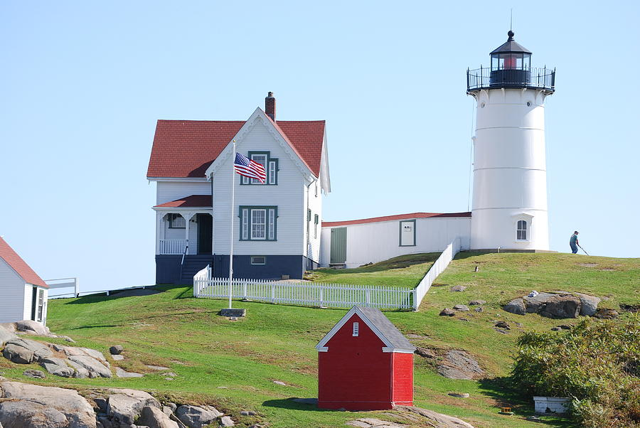 Maine Lighthouse Photograph - Nubble Light House  by Armand Hebert