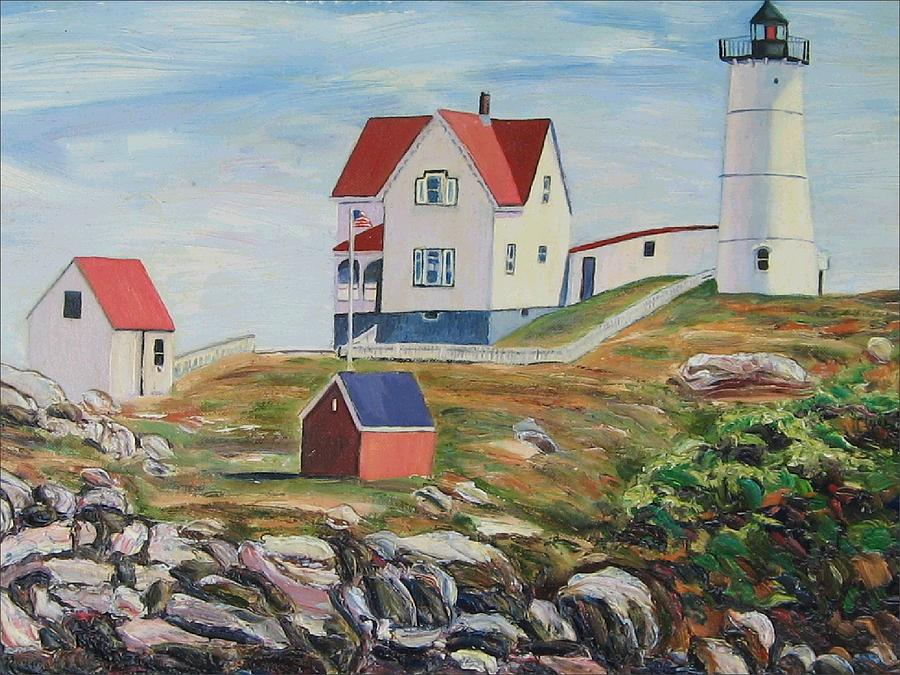 Nubble Light House Painting - Nubble Light House Maine by Richard Nowak