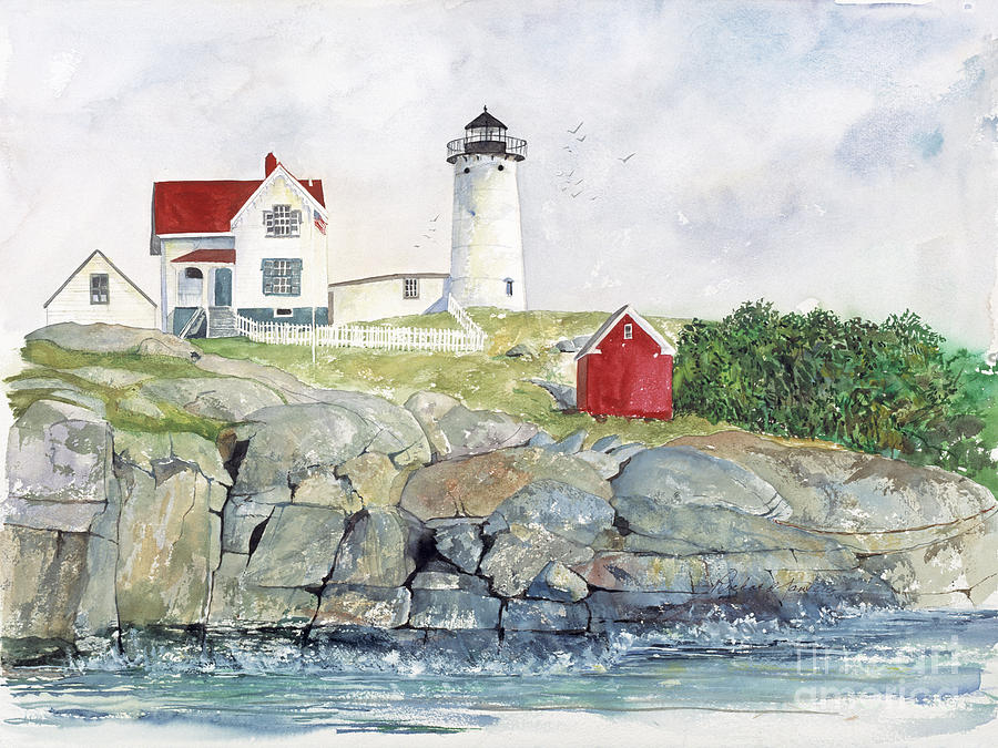Watercolor Painting - Nubble Lighthouse by Richard Jansen