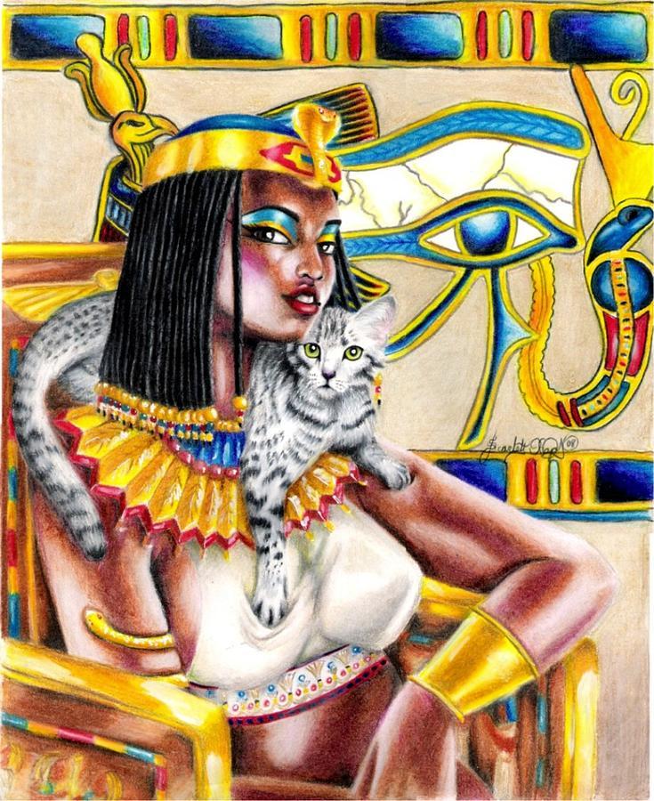 Egyptian Mau Drawing - Nubian Queen by Scarlett Royal