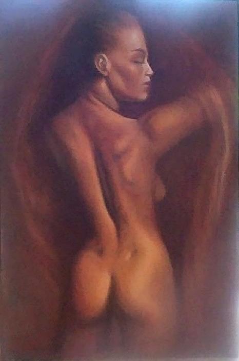 Woman Painting - Nude 1 by Elizabeth Silk