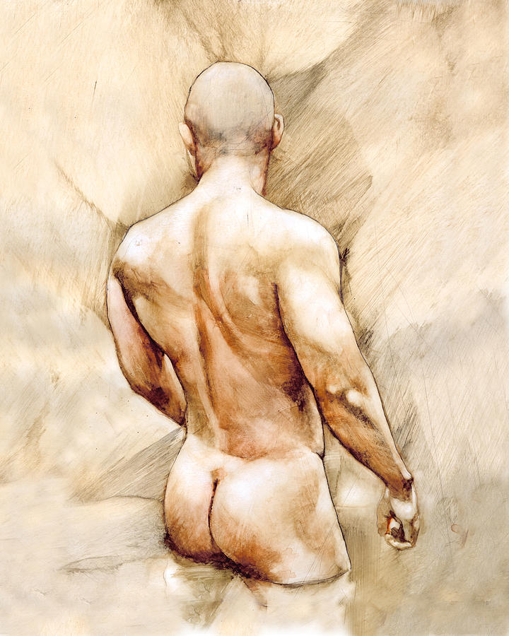 Man Painting - Nude 40  by Chris Lopez