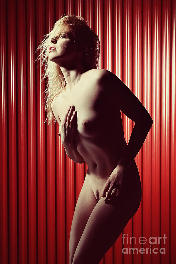 Nude and very beautiful woman posing on red background by William Langeveld