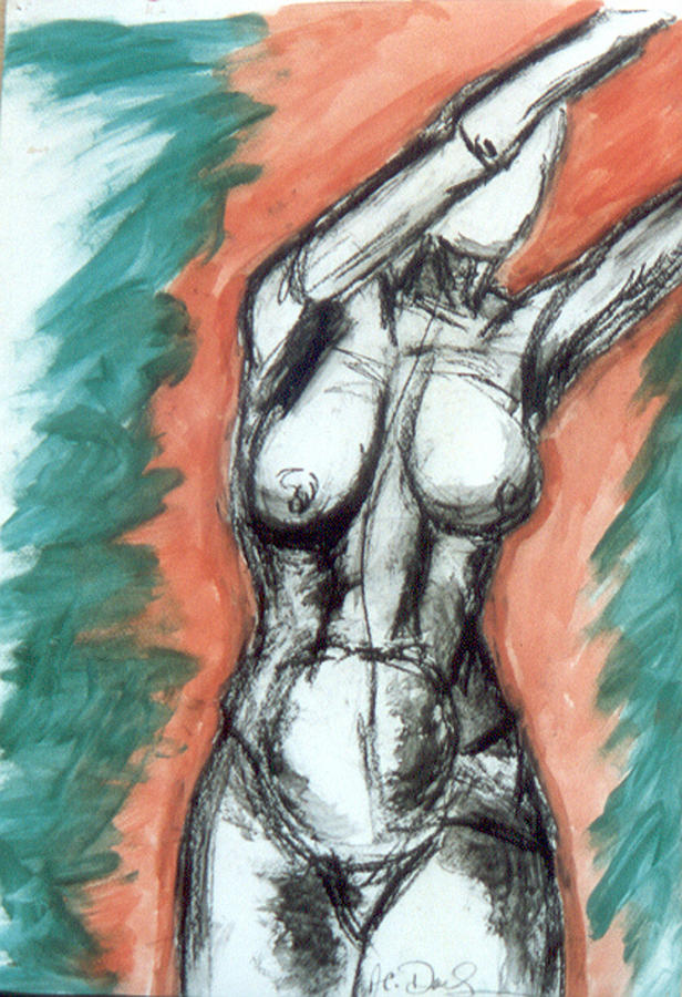 Drawing Painting - Nude Arms Up by B and C Art Shop