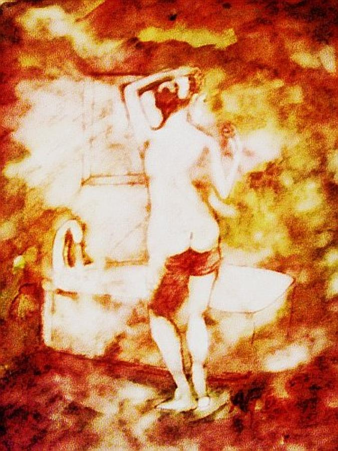 Gillette Painting - Nude at the Bath by Andrew Gillette