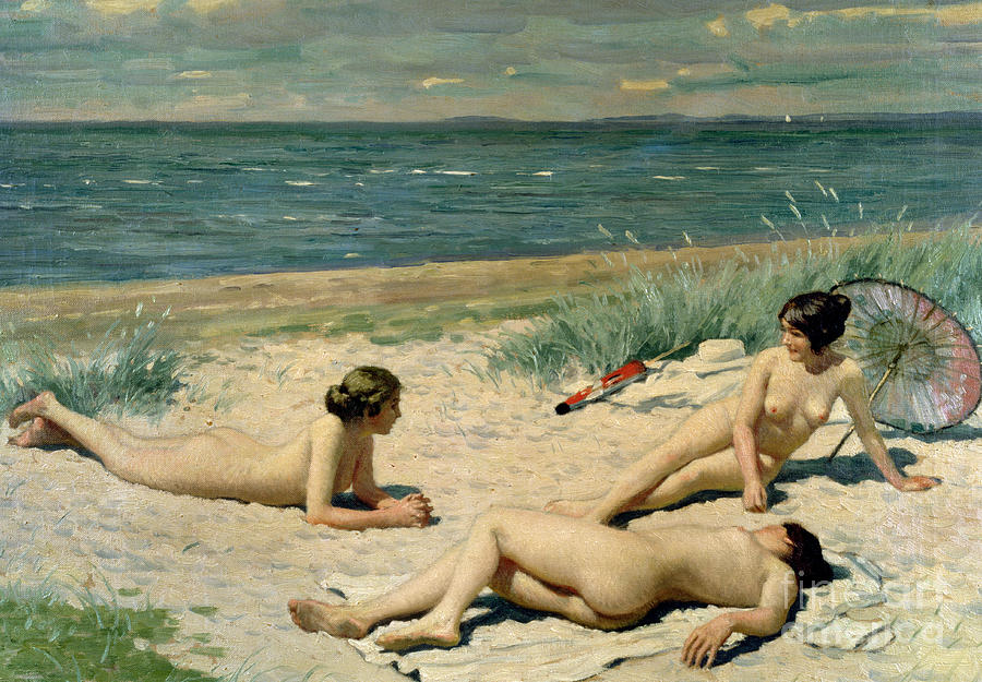 Nude Painting - Nude Bathers On The Beach by Paul Fischer