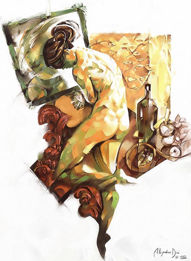 Nude Digital Art - Nude Bathing by Alejandro Dini
