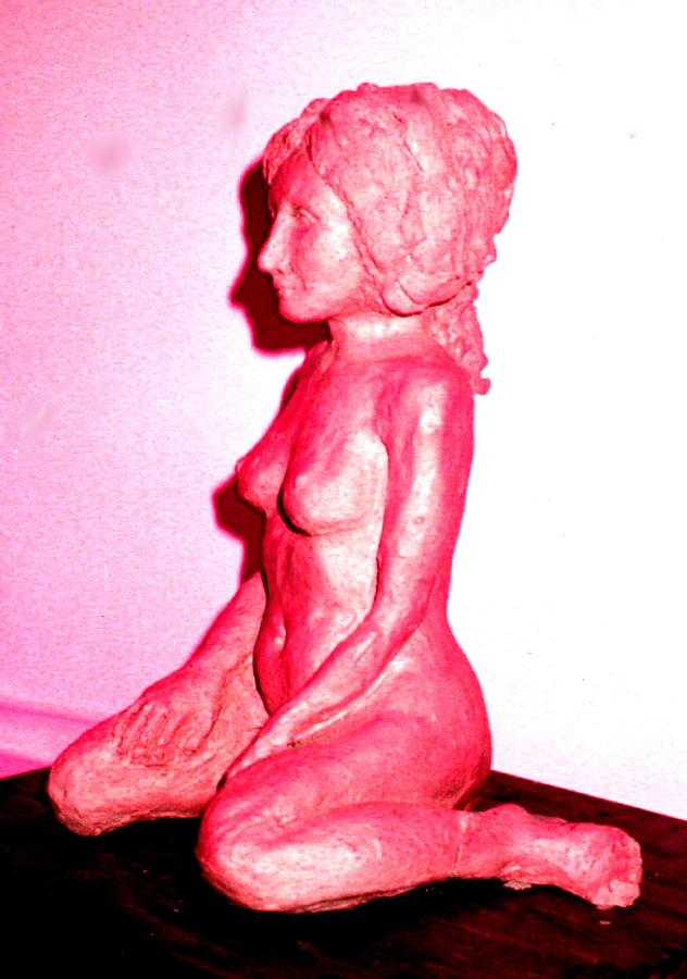 Sculpture Nude Woman Clay Sculpture - Nude by Bethwyn Mills