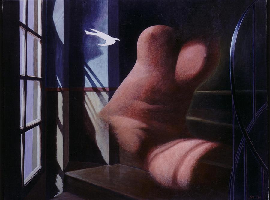 Window Painting - Nude Descending Staircase by James LeGros