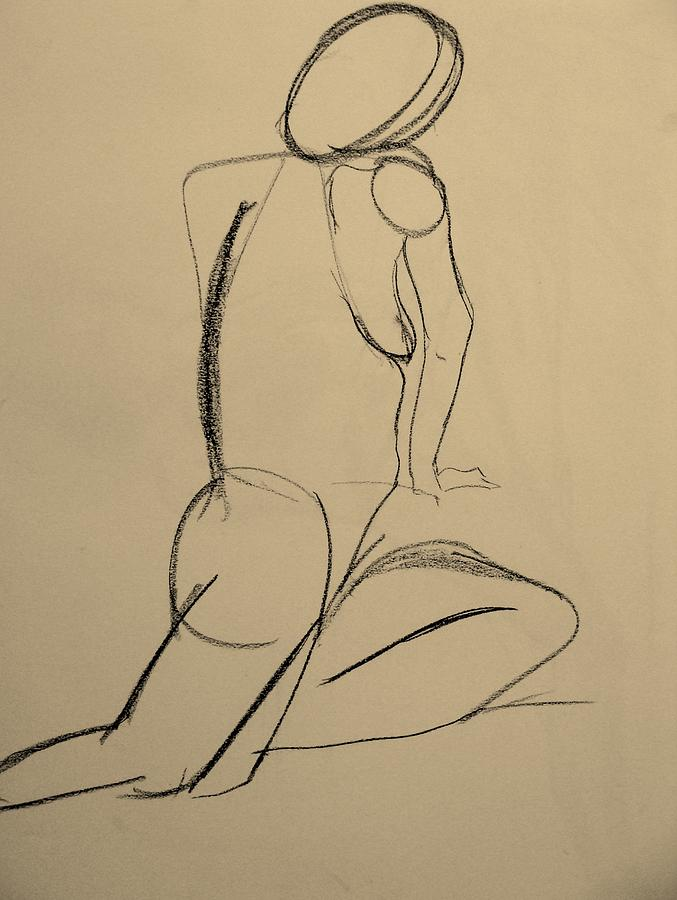 Nude Model Drawing - Nude Drawing 2 by Kathleen Fitzpatrick