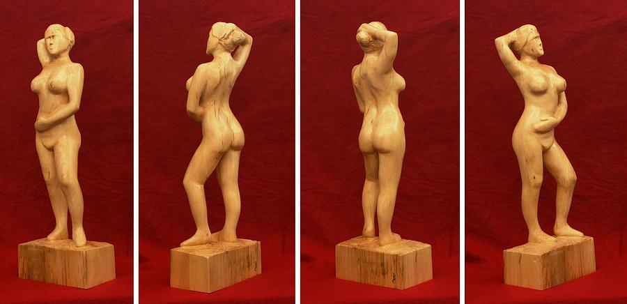 Nude Sculpture - Nude Female Impressionistic Wood Sculpture Donna by Mike Burton