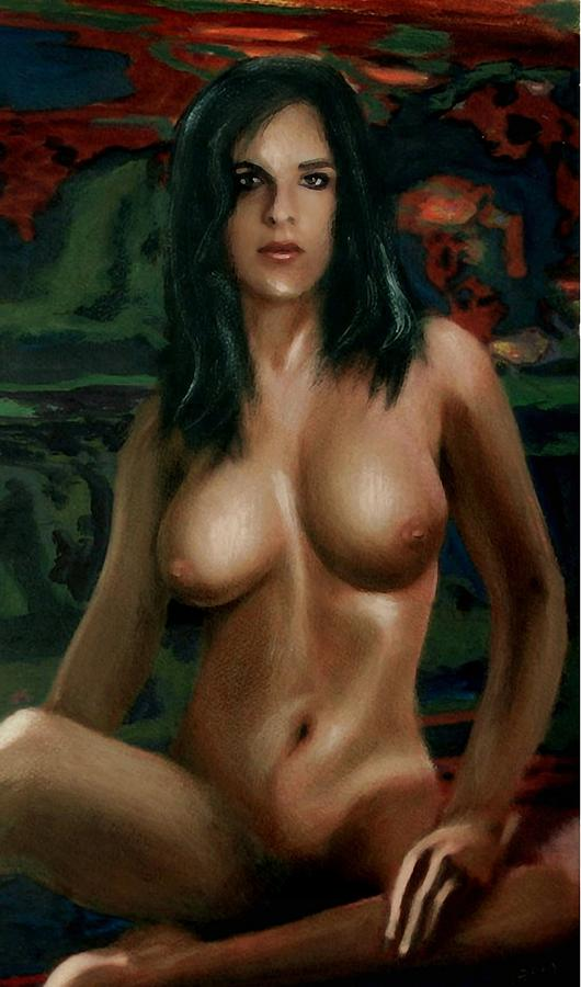 Seated Painting - Nude Female Portrait Sara Seated Female Nude Torso by G Linsenmayer