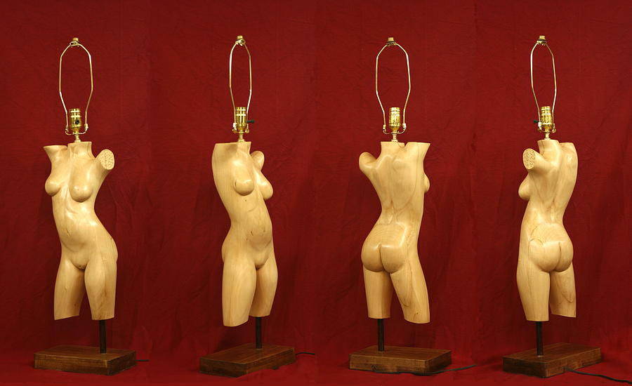 Nude Sculpture - Nude Female Wood Sculpture Tracy by Mike Burton