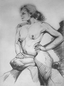 Nude Study Drawing - Nude Figure Study by John Trinh